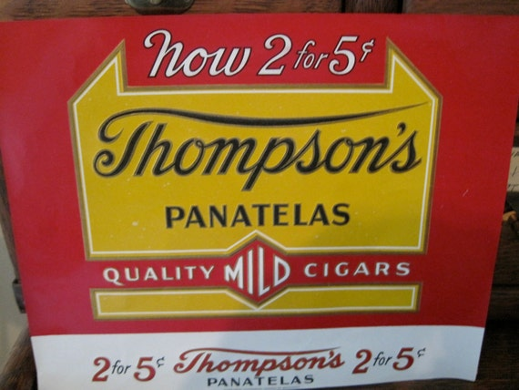 Vintage Thompson's Panatelas Cigar Box Label
