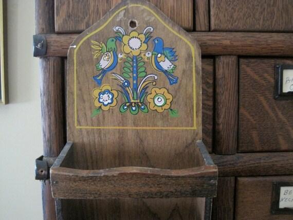 Vintage Wood Mail Organizer with PA Dutch Bird Design