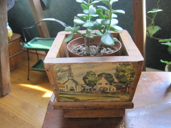 Vintage Wood Planter with Country Village Scenes by Louis Victor