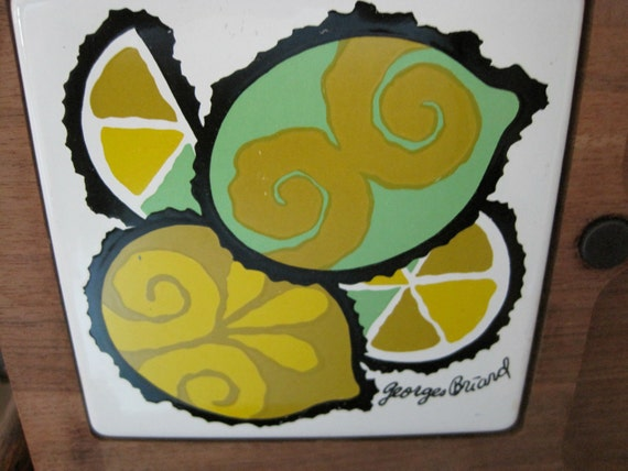 Great Vintage Mod Lemon & Limes Cheese Board by Georges Briard