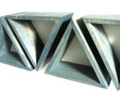 Triangle Wall Shelf SET of 3 - Deep Teal Repurposed Hemlock Wood Shelves