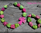Pink & Green Chunky Necklace Off Set Cross Pendant Matching Bracelet