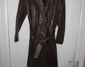 Vintage 80's womans Chocolate Brown Full Length Leather Coat sz SM