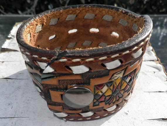 Native Print Leather Cuff