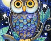 Night Owl  - 8x10 Colorful Owl Moon Star Print