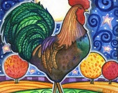 Rooster  - 8x10 Colorful Rooster Moon Star Print