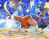 Chicken Dance - 5x7 Fun Whimsical Dancing Chicken Print