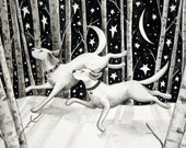 A Cold Winter Night - 8 x10 Nostalgic Winter Dog Lab PRINT black and white watercolor