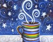 Decaf  - 5x7 Whimsical Colorful Yummy Coffee Print