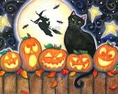 Five Little Pumpkins - 5x7 Halloween Print Black Cat Jack-O-Lanterns Witches