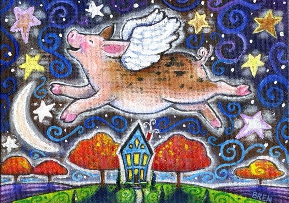 Autumn Flight - 5x7 Fun Whimsical Fall Flying Pig Print