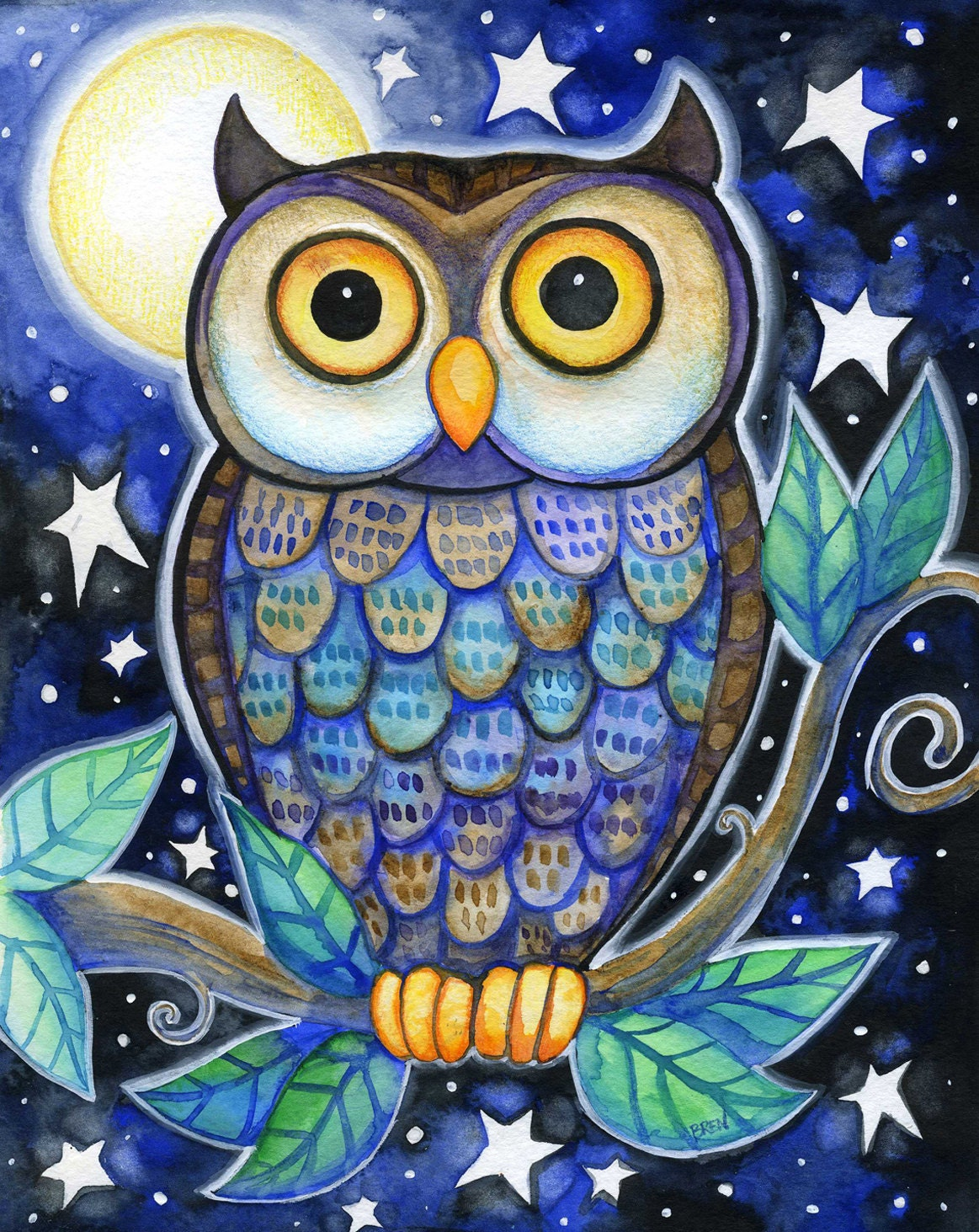 Night Owl 8x10 Colorful Owl Moon Star Print