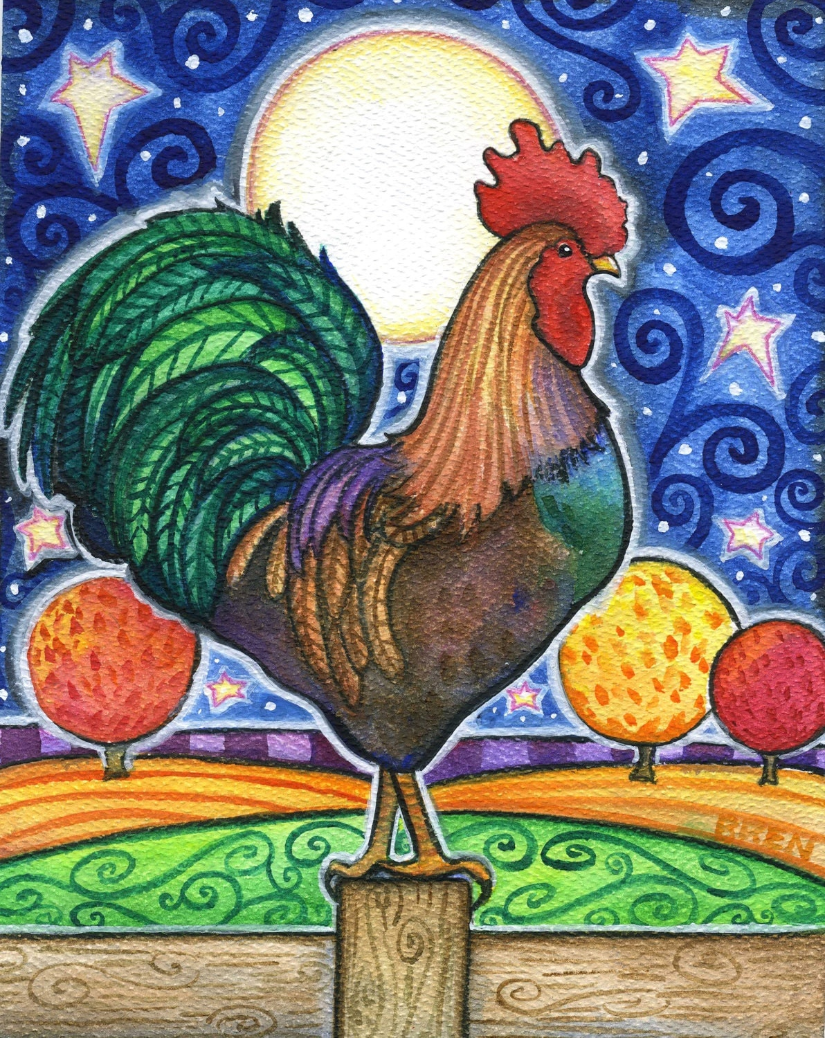 Rooster 8x10 Colorful Rooster Moon Star Print