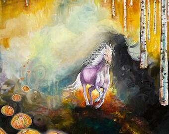 Print, Three Lives, White Horse, Birch Trees, Anemones, Horse Dreams