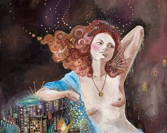 Limited Edition, Fine art print, beautiful girl, woman, gold, nude, city, Art Nouveau, 9x12 print