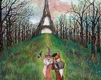 "ON SALE 16x20"" Archival Print, fox art, woodland. French, romantic animals"