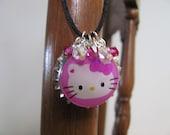 Bright pink Hello Kitty face close-up bottle cap Swarovski crystal satin cord necklace (CGA)