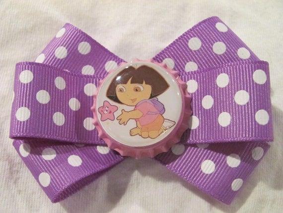 Dora the Explorer pink star white polka dot purple ribbon bottle cap hair bow (CGA)