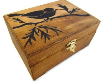 Hand Painted Bird Keepsake Box