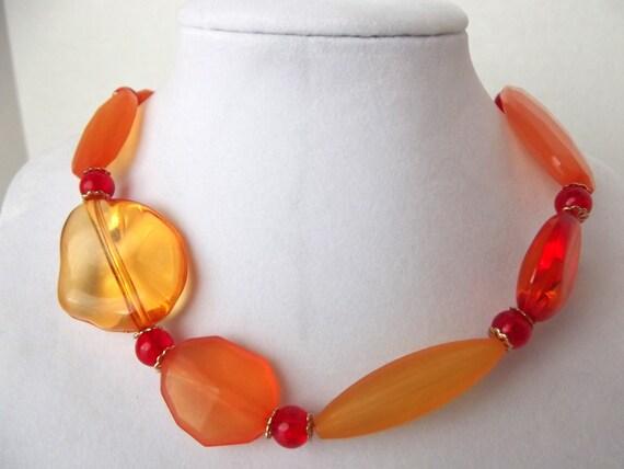Orange Necklace Chunky Orange Beads Necklace Acrylic Beads Necklace OOAK