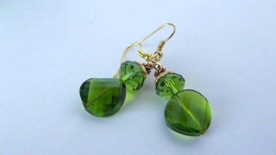 Emerald Green Glass Earrings, Green Earrings, Green Glass Earrings,  OOAK