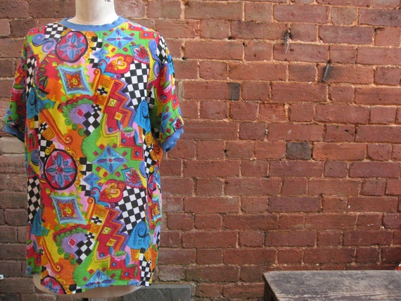 Vintage  80's Abstract Print Top