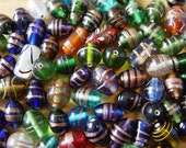 India Multi Color Glass Beads Mixed 12 to 15mm  Lot of 18 Beads