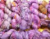 Purple silk sari ribbon or yarn, 60 yard skein