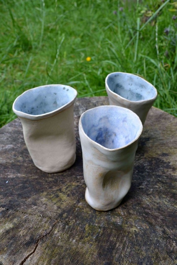 Crushed Paper Cups - a set of three fabulously unusual ceramic cups