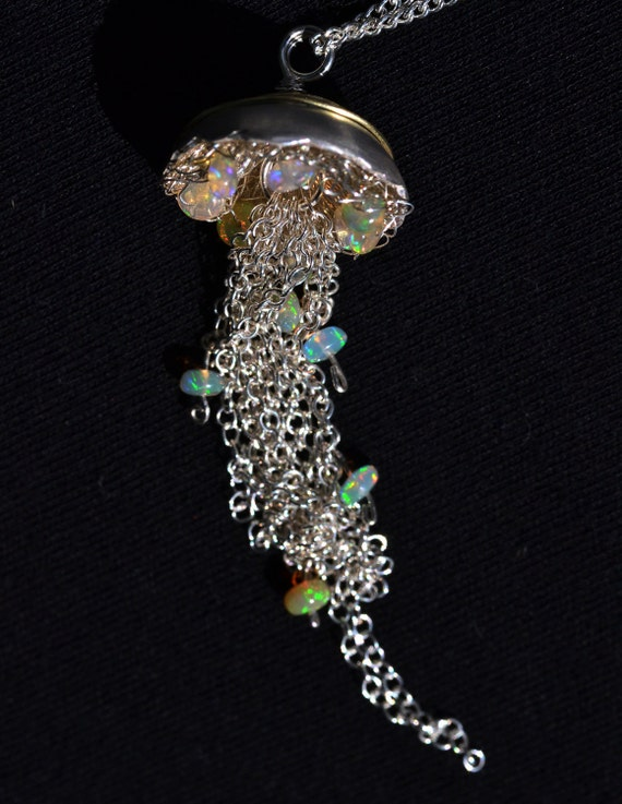 Jellyfish Necklace - Gold and Silver Pendant - Opal Necklace - Sparkly, Unique and OOAK