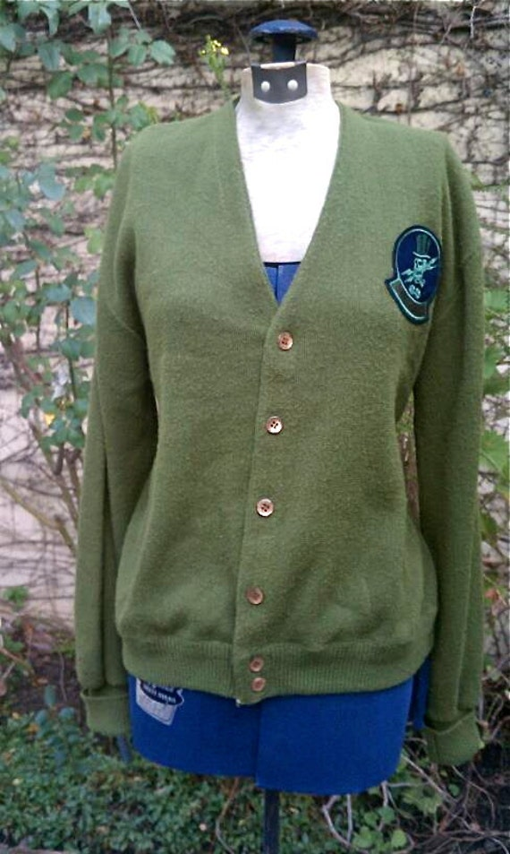 Vintage 1960s Olive Green Cardigan with Army Patch Men's Medium