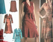 Simplicity Dress Pattern No 4074 2006 UNCUT Size H5 6 8 10 12 14 Knit Dress Top Front Variations Pull On Skirt Sash