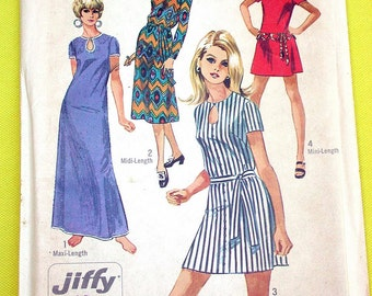 "Simplicity Dress Pattern No 8722 Vintage 1970s UNCUT Size 14 Bust 36"" Jiffy Easy to Sew Mini Maxi Midi Length Short or Long Sleeves"