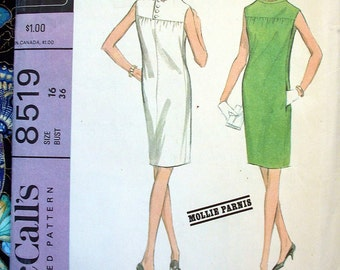 "McCall's New York Designer Collection Dress Pattern Mollie Parnis 8519 Size 16 Bust 36"" Vintage 1960s Sleeveless Back Zipper Shift Sheath"