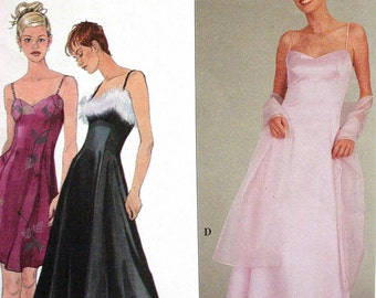 """Simplicity Dress Pattern No 8940 1990s UNCUT Size HH 6 8 10 12 Bust 30"""" to 34"""" Party Evening Gown Bridesmaid Princess Seams Spaghetti Straps"""