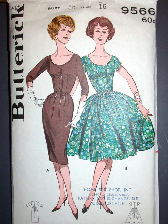 """Butterick Dress Pattern No 9566 Vintage 1950s Size 16 Bust 36"""" Scoop Neck Fitted Bodice Full Gathered or Sheath Slim Skirt Button Front"""