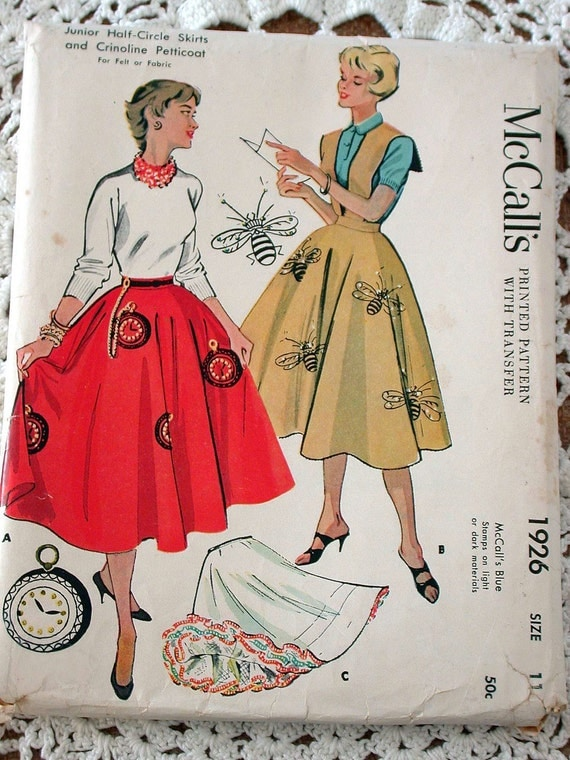 "McCall's Skirt Pattern No 1926 Vintage 1950s UNCUT Size 11 Waist 24 1/2"" Felt or Fabric Half Circle Skirt Crinoline Petticoat Poodle Bee Bop"