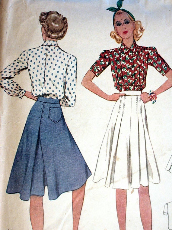 """McCalls Dress Pattern No 3156 Vintage 1930s Size 14 Bust 32"""" Two Piece Culotte Dress Short or Long Sleeves Front Button Side Zipper"""