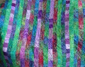 FUN purple and green batik baby quilt playmat