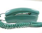Vintage Jade Green Slimline Push Button Telephone - Light Teal Green 1970s Telephone
