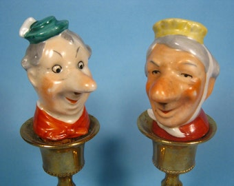 Vintage Ceramic Old Man and Woman Cork Bottle Stoppers - Decorative Bottle Stoppers