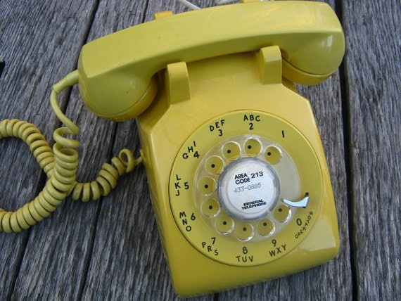 Rotary Dial Telephone - Canary Yellow - Featured in Apartment Therapy