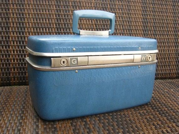 Vintage Blue Samsonite Train Travel Case - Blue Samsonite Make Up Case - 1960's Luggage