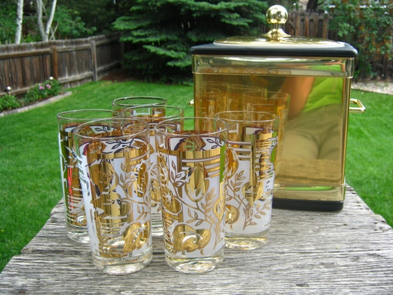Vintage Gold Bar Glasses and Ice Bucket - Set of 6 Gold Glasses and Gold Ice Bucket