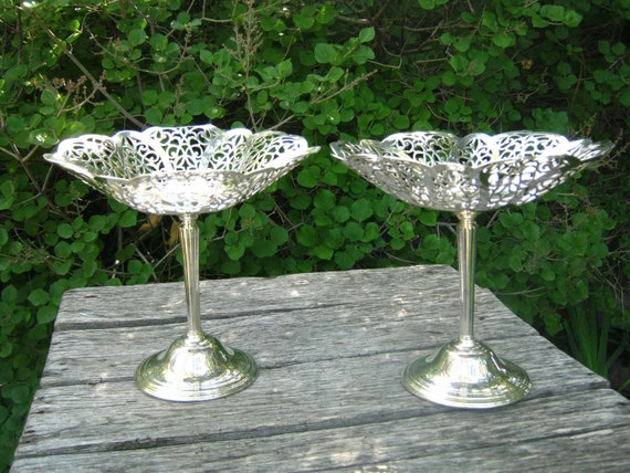 RESERVED Vintage Pair of Silver Plate Compotes - Lacey Silver Plate Pedestal Bowls