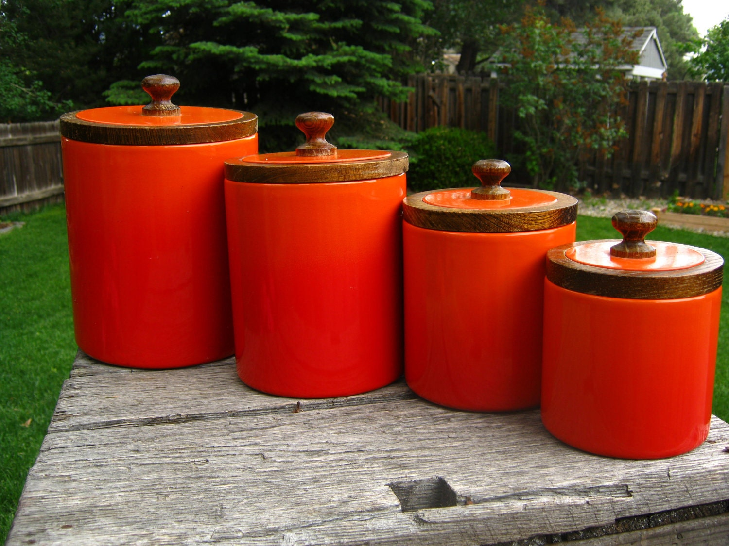 orange red ombre enamel metal canisters set of 4 enameled