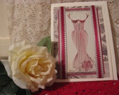 Red Prom Dress Card Handstitched