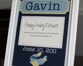 PERSONALIZED/Custom PICTURE frame matting Baby Boy airplane- matting only