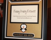 PERSONALIZED/Custom PICTURE frame matting Baby Boy Penguin Pittsburgh- matting only