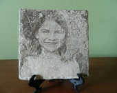 Laser Engraved Personalized Photo on Stone Tile, Personalized, Picture, Customized, One of a Kind, Parents, Grandparents, Family